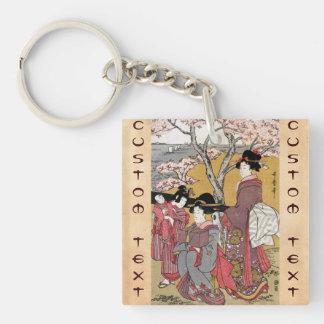 Cool oriental japanese classic geisha lady art Double-Sided square acrylic keychain