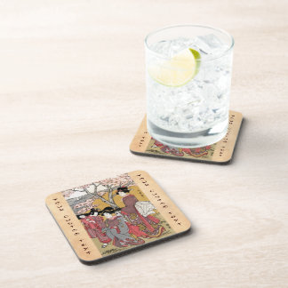 Cool oriental japanese classic geisha lady art drink coaster