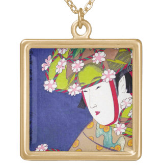 Cool oriental japanese classic geisha lady art gold plated necklace