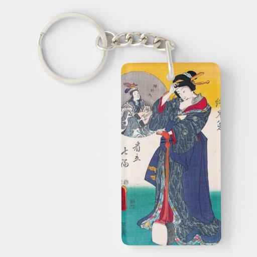 Cool oriental japanese classic geisha lady art acrylic keychains