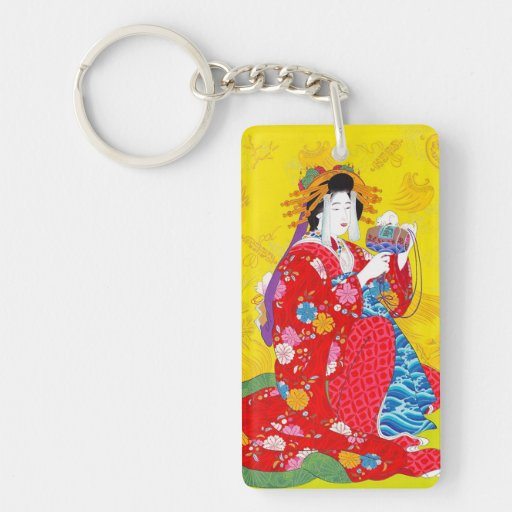 Cool oriental japanese classic geisha lady art keychain