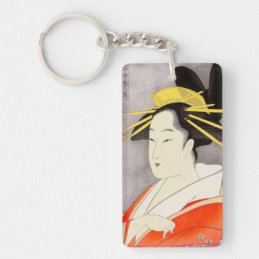 Cool oriental japanese classic geisha lady art Double-Sided rectangular acrylic keychain