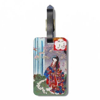 Cool oriental japanese classic geisha lady art luggage tags