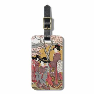 Cool oriental japanese classic geisha lady art travel bag tags