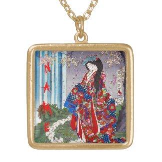 Cool oriental japanese classic geisha lady art pendant