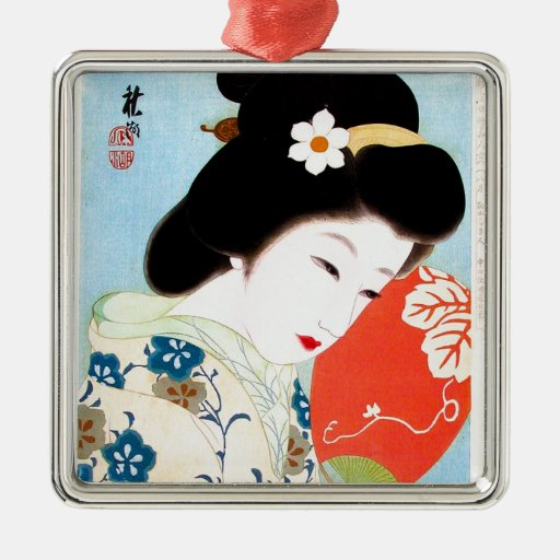 Cool oriental japanese classic geisha lady art christmas ornaments