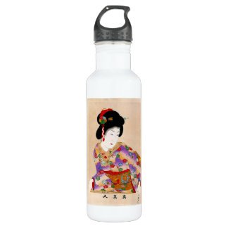 Cool oriental japanese classic geisha lady art 24oz water bottle