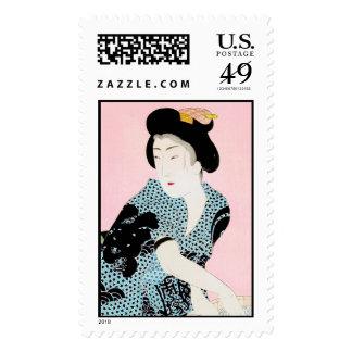 Cool oriental japanese classic geisha lady art postage