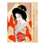 Cool oriental japanese classic geisha lady art post card