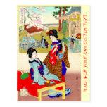 Cool oriental japanese classic geisha lady art post cards
