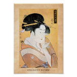 Cool oriental japanese classic geisha lady art poster