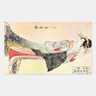 Cool oriental japanese classic geisha lady art rectangular sticker