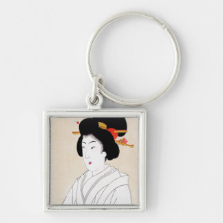 Cool oriental japanese classic geisha lady art Silver-Colored square keychain