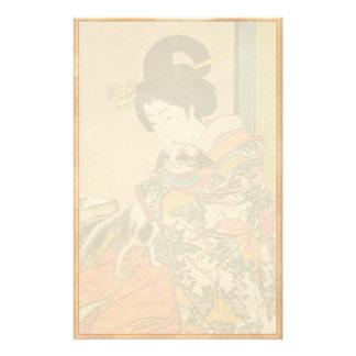 Cool oriental japanese classic geisha lady art stationery