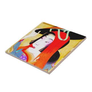 Cool oriental japanese classic geisha lady art tile