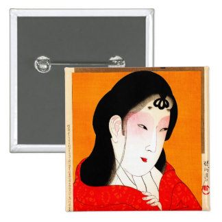 Cool oriental japanese classic geisha lady buttons