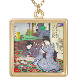 Cool oriental japanese classic geisha lady garden gold plated necklace