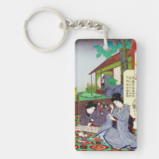 Cool oriental japanese classic geisha lady garden keychain