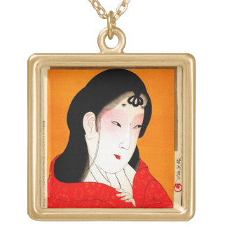 Cool oriental japanese classic geisha lady gold plated necklace