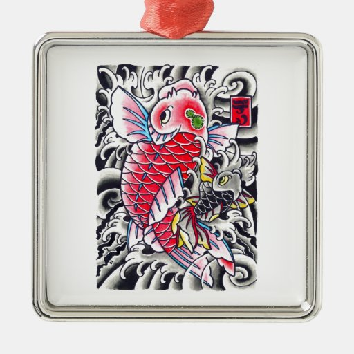 Cool Oriental Japanese Classic Ink red Koi Fish Christmas Ornaments