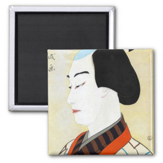 Cool oriental japanese classic kabuki actor art 2 inch square magnet