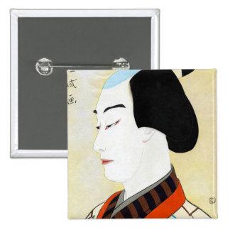 Cool oriental japanese classic kabuki actor art pin