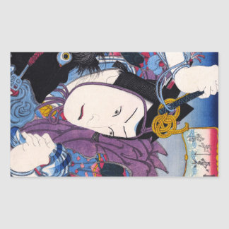 Cool oriental japanese classic kabuki actor art rectangular sticker