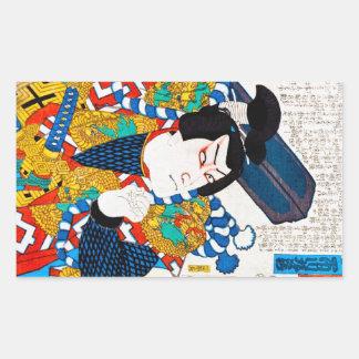 Cool oriental japanese classic kabuki actor art rectangular sticker