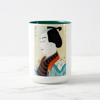 Cool oriental japanese classic kabuki actor art Two-Tone coffee mug