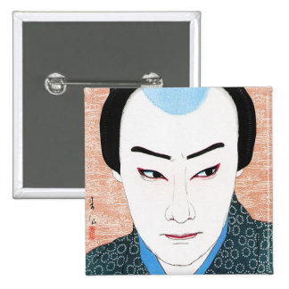 Cool oriental japanese classic kabuki painting buttons