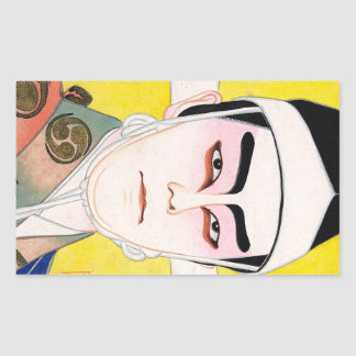 Cool oriental japanese classic kabuki painting rectangular sticker