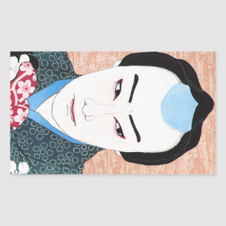 Cool oriental japanese classic kabuki painting rectangular sticker