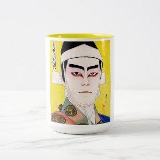 Cool oriental japanese classic kabuki painting Two-Tone coffee mug