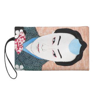 Cool oriental japanese classic kabuki painting wristlet purse