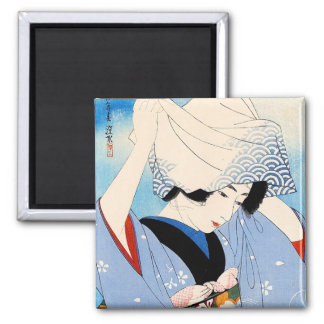 Cool oriental japanese classic lady art 2 inch square magnet
