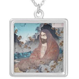 Cool oriental japanese classic master sage art square pendant necklace