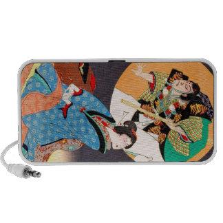 Cool oriental japanese classic samurai geisha art portable speaker