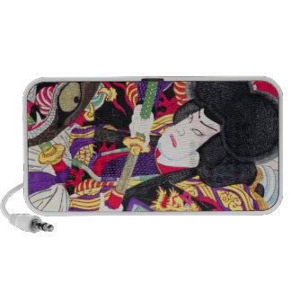Cool oriental japanese classic samurai swordsman laptop speaker