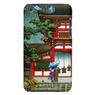Cool oriental japanese classic temple rain art barely there iPod covers