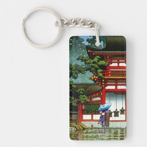 Cool oriental japanese classic temple rain art Double-Sided rectangular acrylic keychain