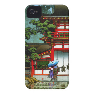 Cool oriental japanese classic temple rain art iPhone 4 cover