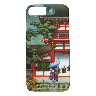 Cool oriental japanese classic temple rain art iPhone 8/7 case