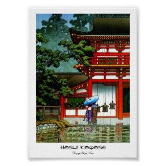 Cool oriental japanese classic temple rain art pos posters