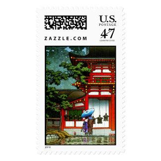 Cool oriental japanese classic temple rain art postage