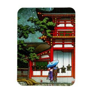 Cool oriental japanese classic temple rain art magnet