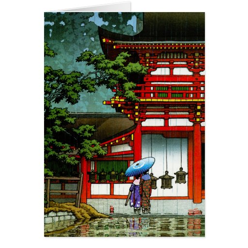 Cool oriental japanese classic temple rain art stationery note card