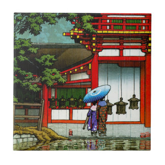 Cool oriental japanese classic temple rain art tile