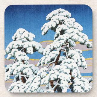 Cool oriental japanese classic winter snow tree coasters