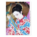 Cool oriental japanese classic woman with umbrella post card