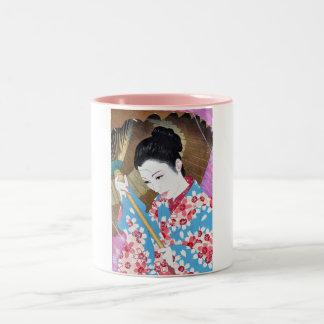 Cool oriental japanese classic woman with umbrella Two-Tone coffee mug